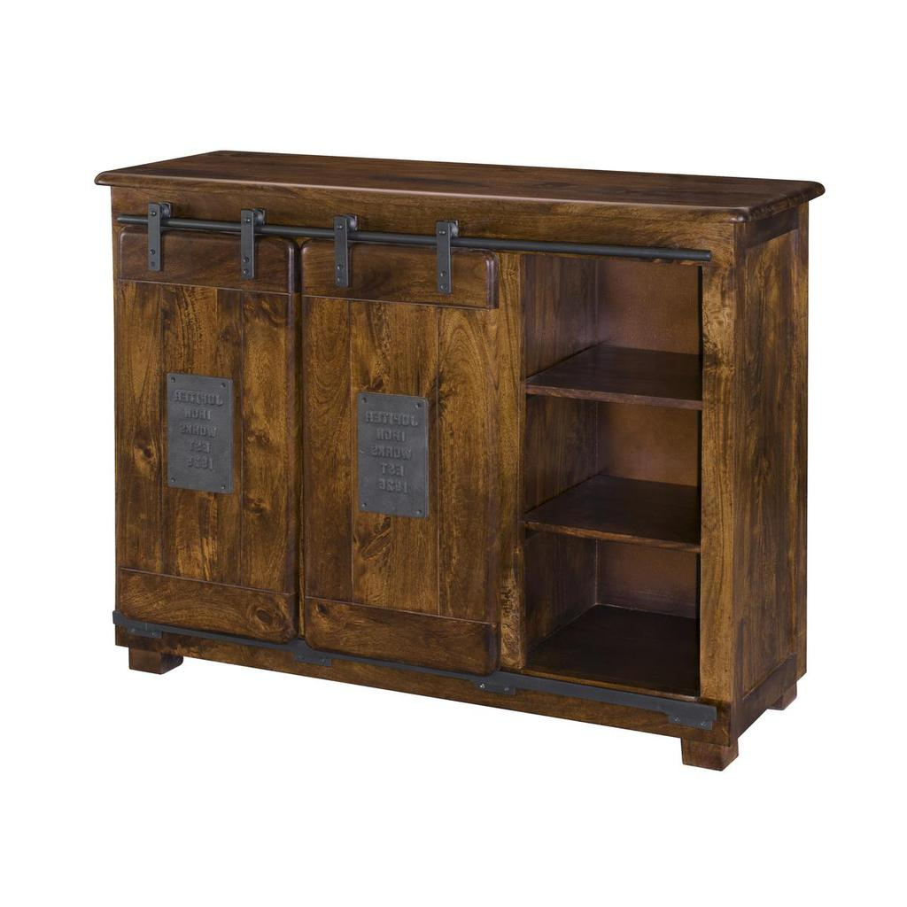 Current Ironworks Warm Brown Two Door Four Drawer Sideboard With Armelle Sideboards (View 11 of 20)