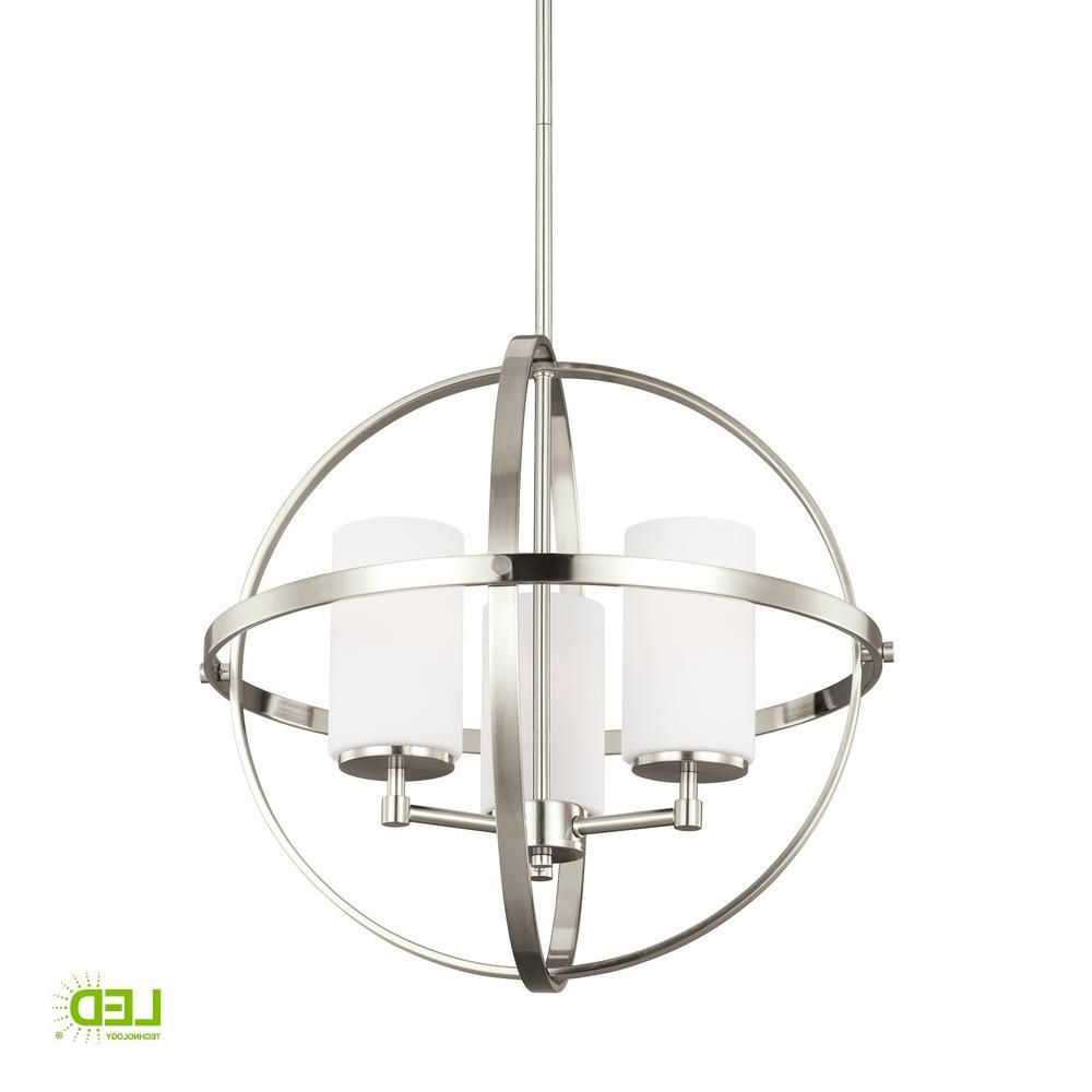 Current Irwin 1 Light Single Globe Pendants In Sea Gull Lighting Alturas 3 Light Brushed Nickel Chandelier (View 2 of 20)