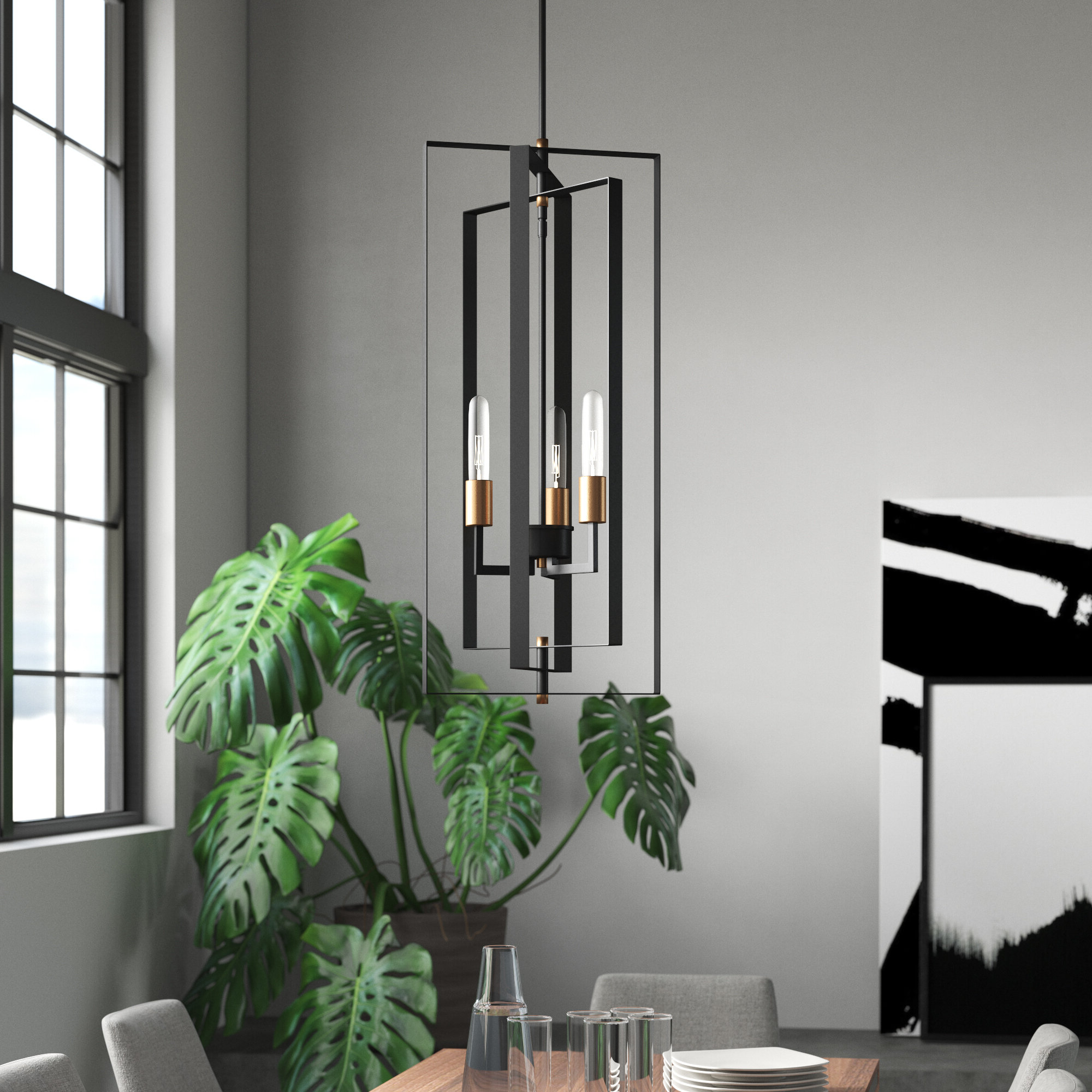 Current Mercury Row Dewees 3 Light Geometric Chandelier & Reviews With Tiana 4 Light Geometric Chandeliers (Gallery 7 of 20)