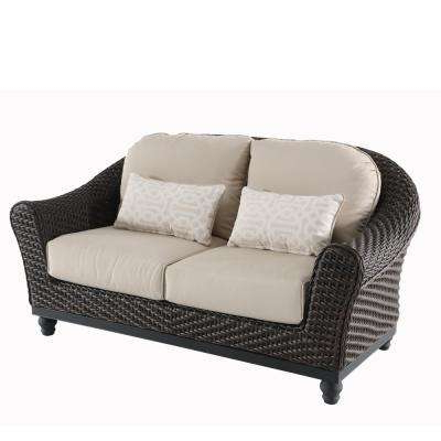 Current Mosca Patio Loveseats With Cushions Throughout Camden Dark Brown Wicker Outdoor Loveseat With Sunbrella Antique Beige  Cushions (View 3 of 20)