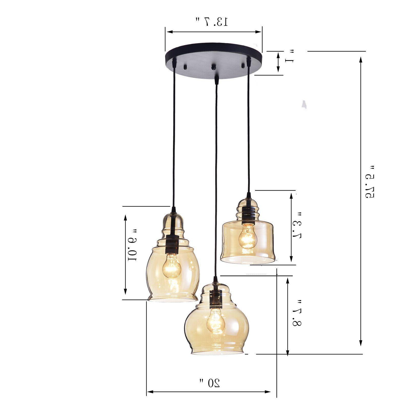 Current Pruett Cognac 3 Light Cluster Bell Pendants Regarding Three Posts Vernice Vintage 3 Light Cluster Bell Pendant In (Gallery 7 of 20)