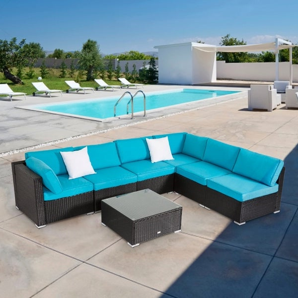 Current Shop Kinbor All Weather Rattan Sectional Sofa Patio Pertaining To Tess Corner Living Patio Sectionals With Cushions (View 20 of 20)