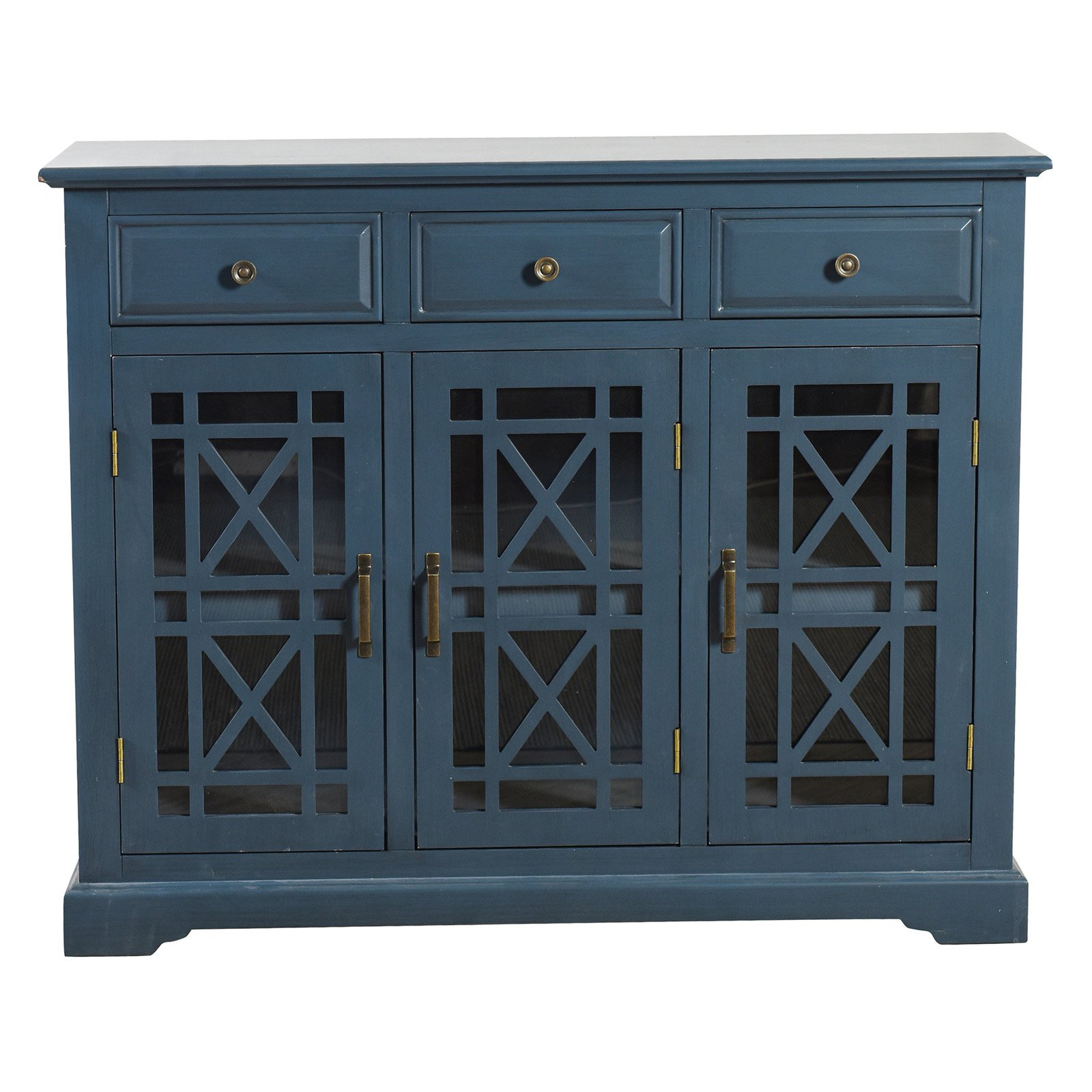 Current Stylecraft Archer Ridge Navy Blue Three Drawer Sideboard Throughout Etienne Sideboards (Gallery 15 of 20)