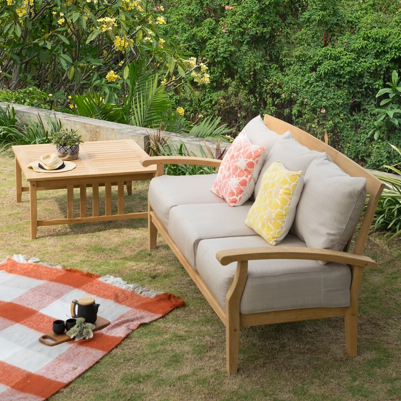 Current Summerton Teak Patio Sofas With Cushions Regarding Summerton Teak Patio Sofa With Cushions (Gallery 1 of 20)