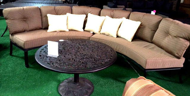 Current Vineyard Deep Seating Sofas With Regard To Half Moon Sofa Deep Seating Outdoor Furniture 3Pc With Table Curved Bench  Bronze (View 2 of 20)