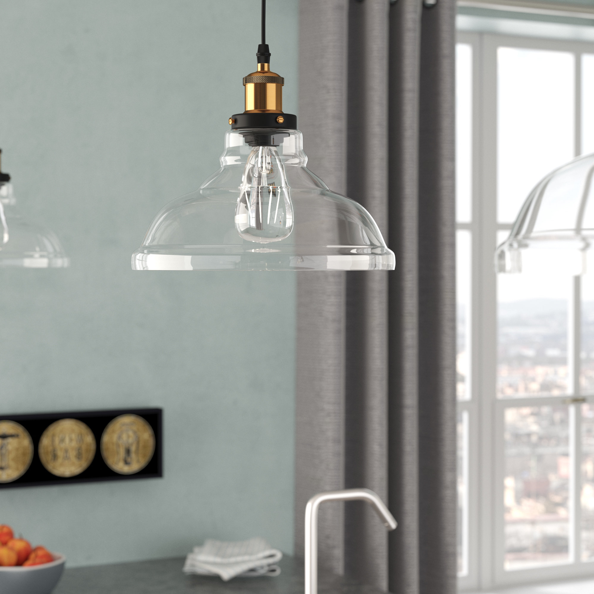 Current Williston Forge Channelle 1 Light Dome Pendant & Reviews Throughout Fresno Dome 1 Light Bell Pendants (View 5 of 20)