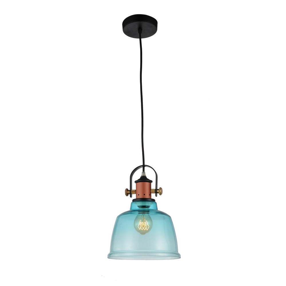 Cwi Lighting Tower Bell 1 Light Blue Pendant Intended For Famous Whitten 4 Light Crystal Chandeliers (View 3 of 20)