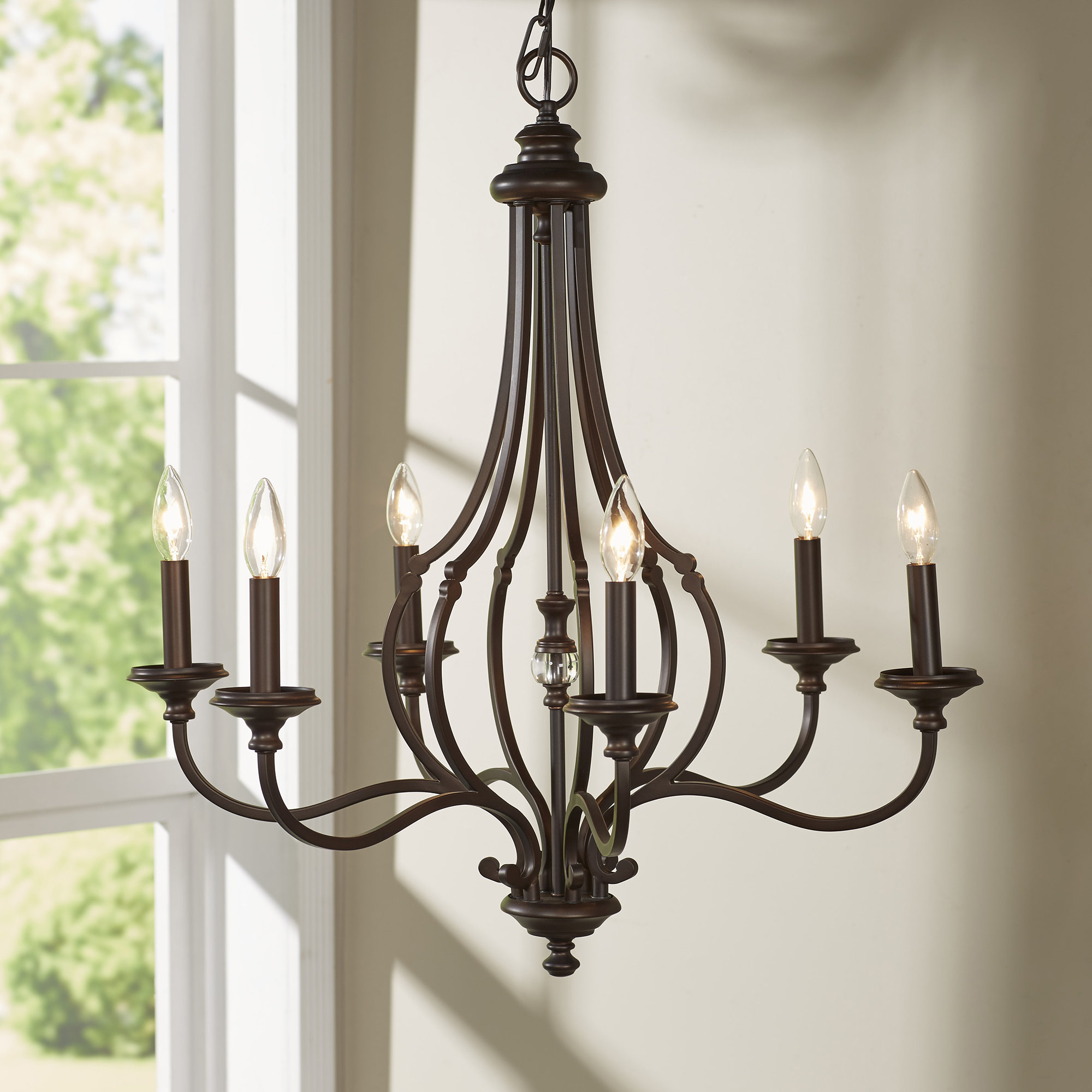 Darby Home Co Jaclyn 6 Light Candle Style Chandelier Within Widely Used Hamza 6 Light Candle Style Chandeliers (View 2 of 20)