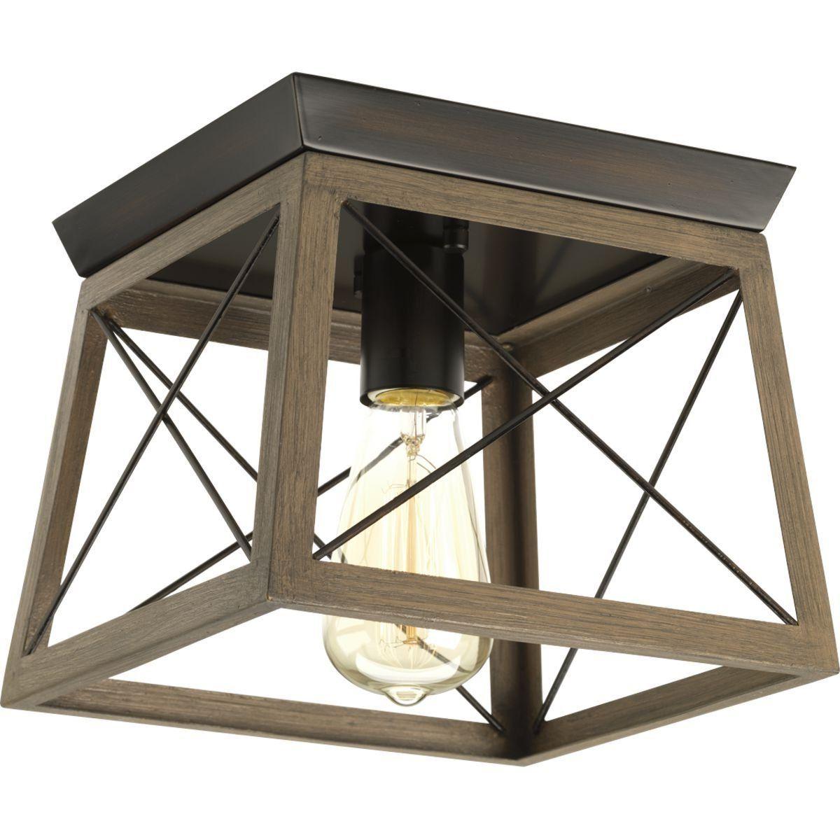 "Delon 1 Light Lantern Geometric Pendants Inside Widely Used Progress Lighting P350022 Briarwood Single Light 9 1/2"" Wide (View 3 of 20)"