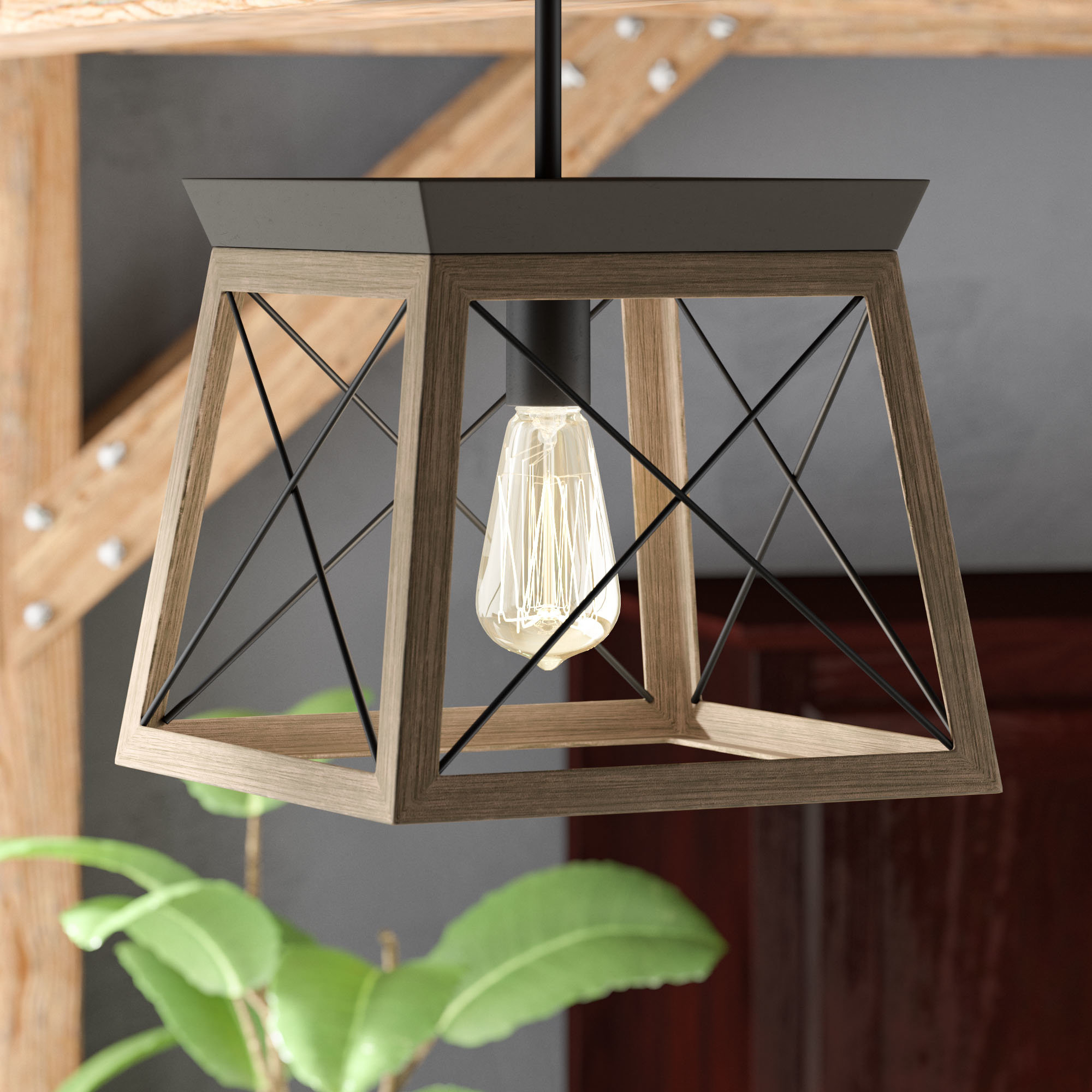 Delon 1 Light Lantern Geometric Pendants Regarding Favorite Delon 1 Light Lantern Geometric Pendant (Gallery 2 of 20)