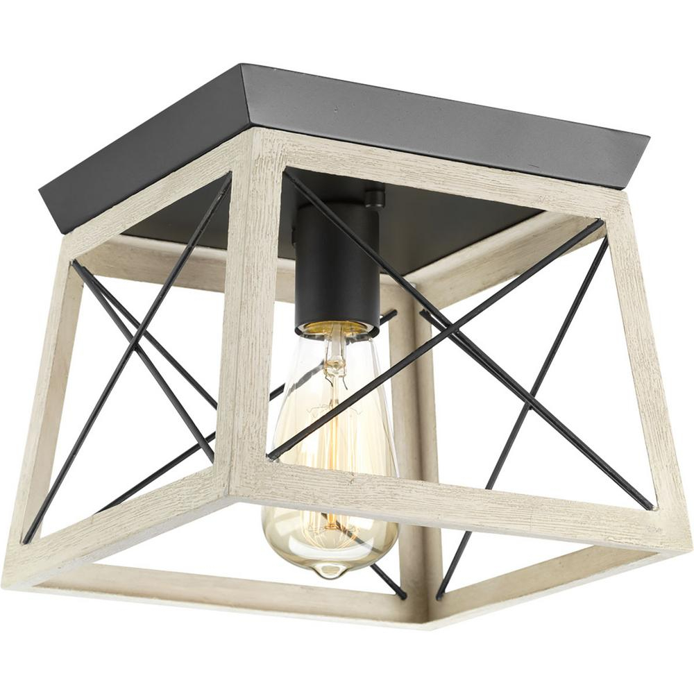 Delon 1 Light Lantern Geometric Pendants Within 2019 Progress Lighting Briarwood 9.5 In. 1 Light Graphite Flush Mount With  Faux Painted Wood Accents (Gallery 18 of 20)