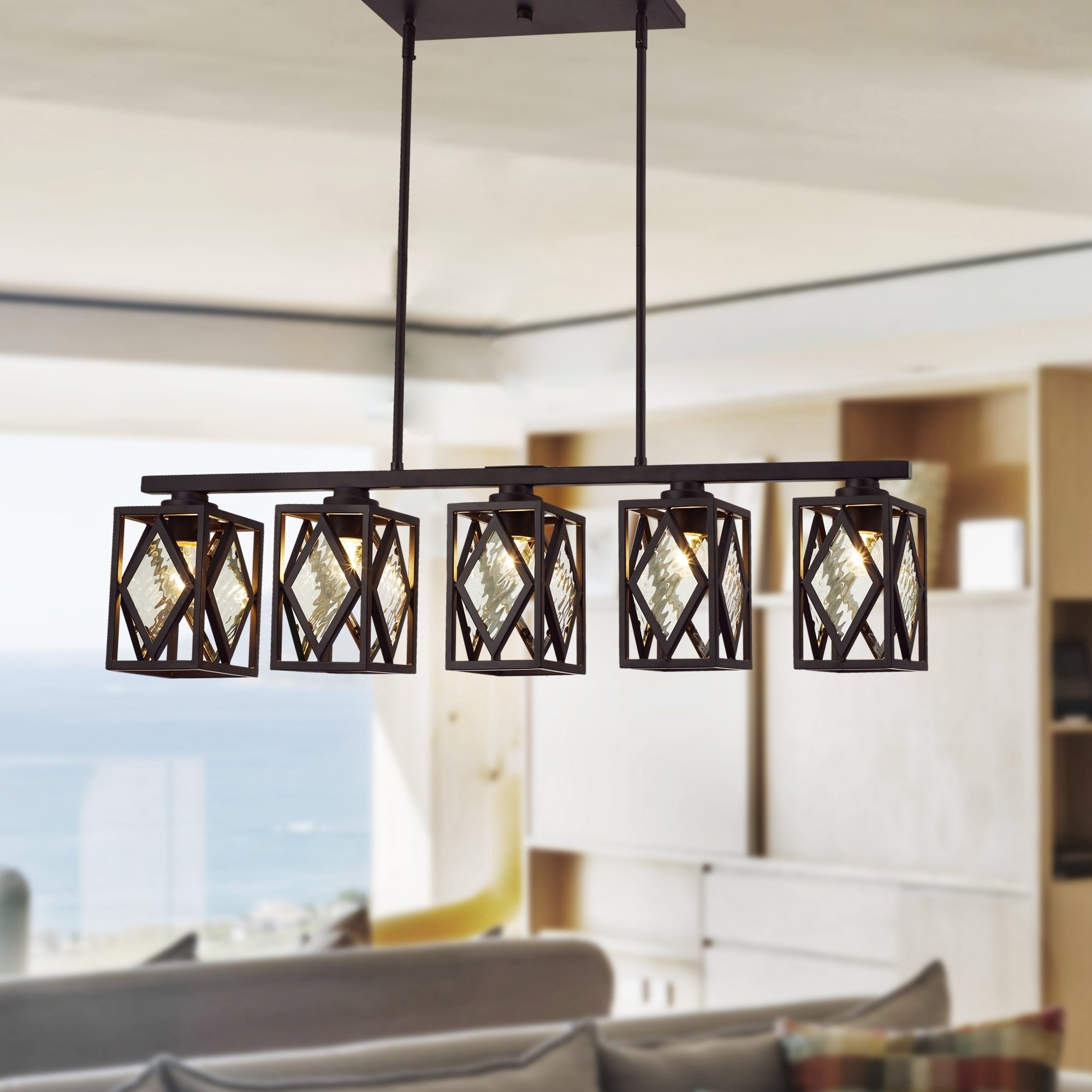 Delon 5 Light Kitchen Island Linear Pendants Intended For Best And Newest Fanwel Oil Rubbed Bronze 5 Light Linear Chandelier (View 6 of 20)