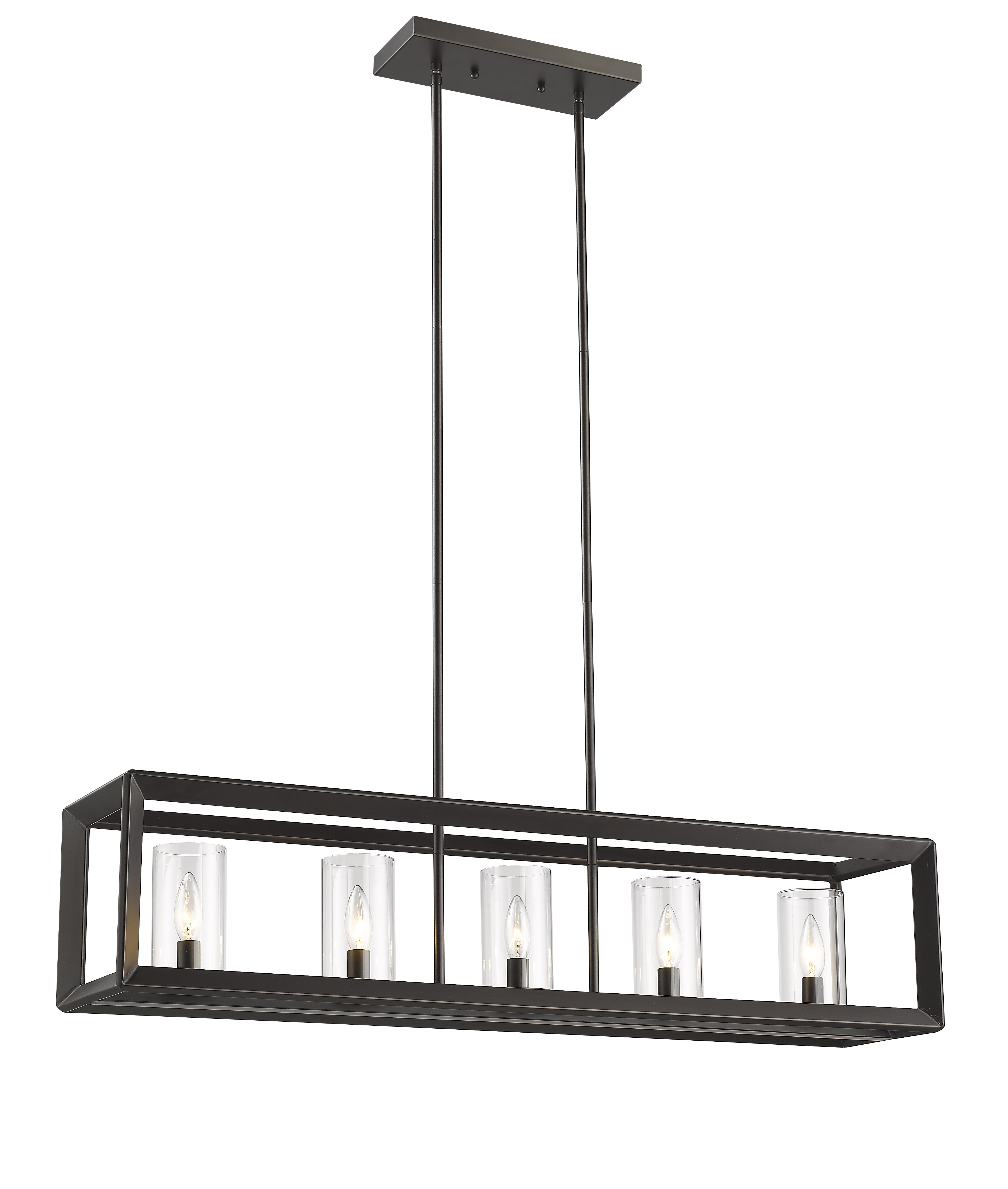 Delon 5 Light Kitchen Island Linear Pendants Within Most Up To Date Farmhouse / Country Kitchen Island Pendants (View 9 of 20)