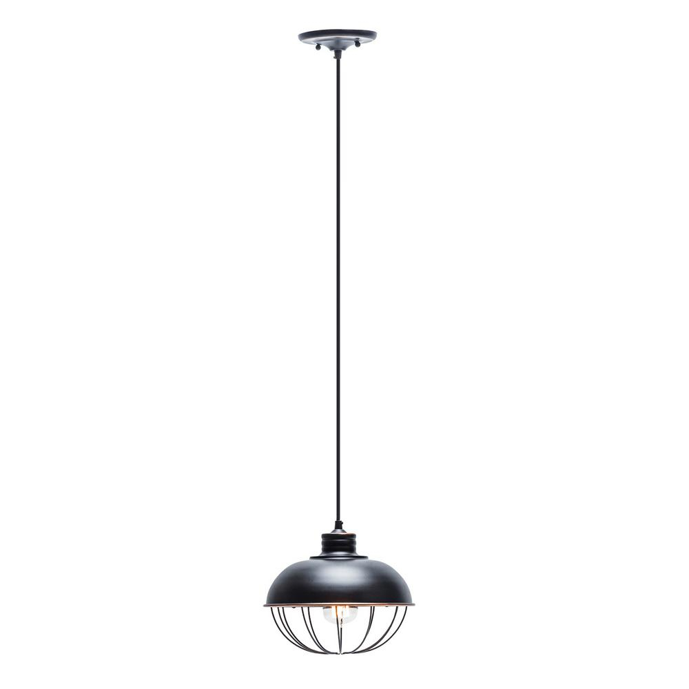 Demi 1 Light Globe Pendants With Latest Globe Electric 1 Light Oil Rubbed Bronze Vintage Hanging Half Moon Caged  Pendant With Black Cord (View 8 of 20)