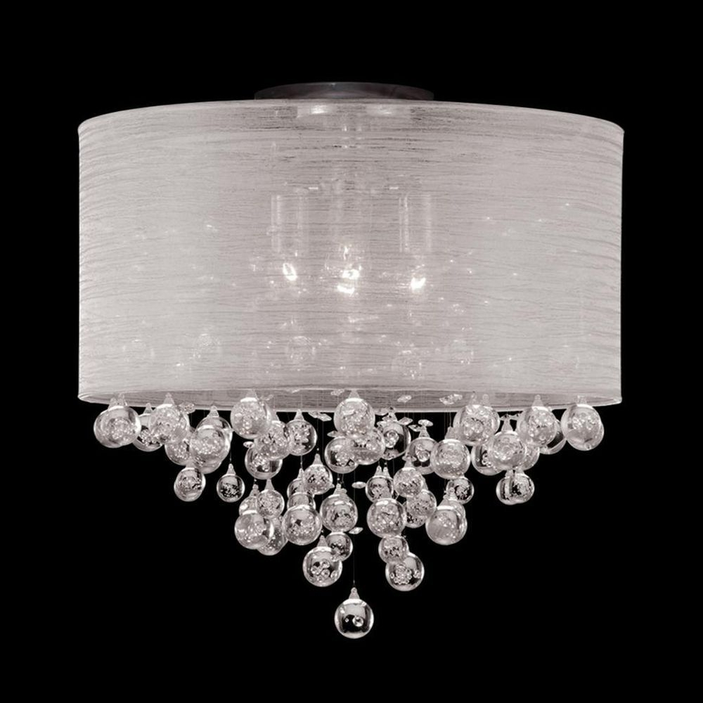 Details About Modern Flush Mount Ceiling Nickel Light For Famous Von 4 Light Crystal Chandeliers (Gallery 15 of 20)