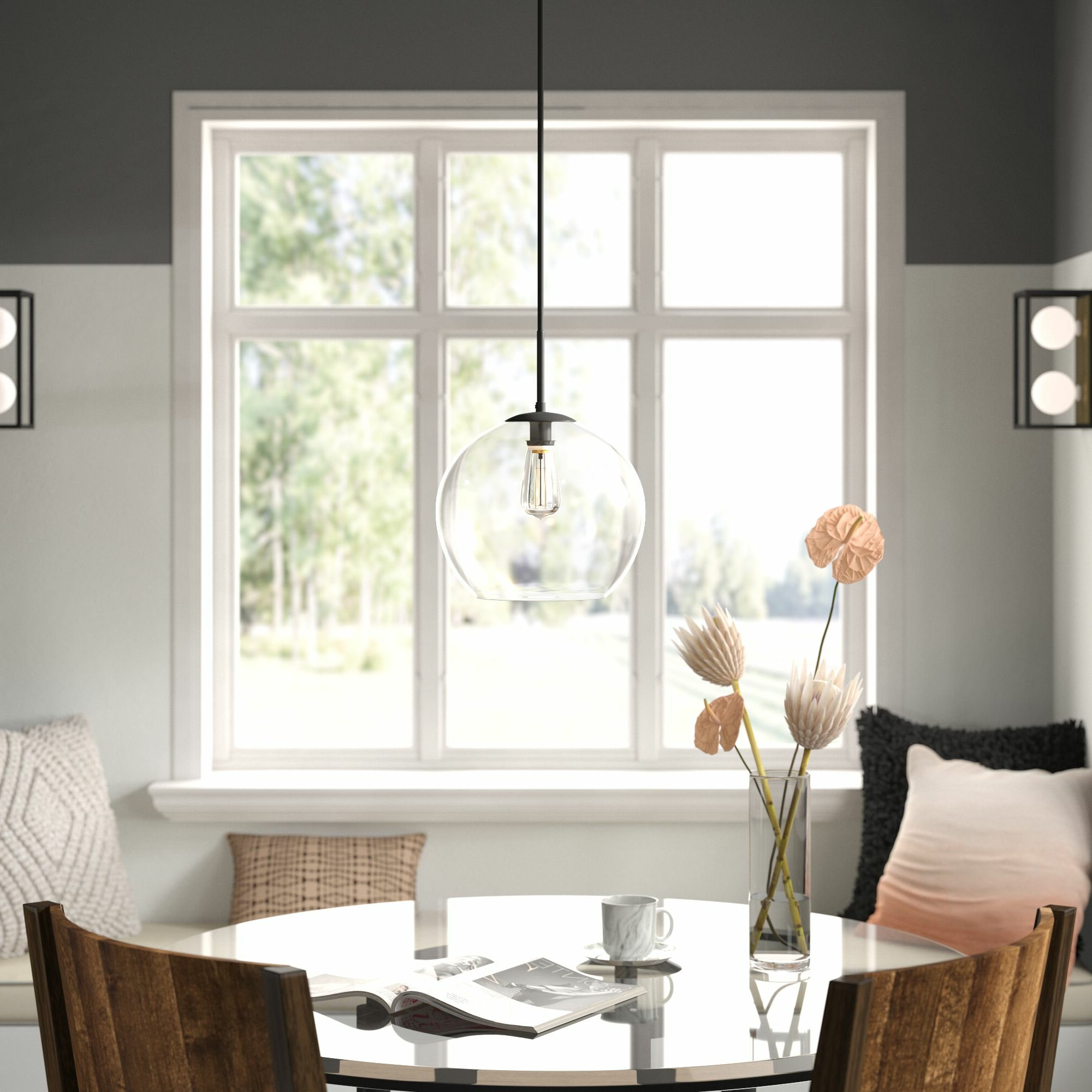 Devereaux 1 Light Single Globe Pendants Intended For Favorite Round Glass Pendant Light You'll Love In  (View 5 of 20)