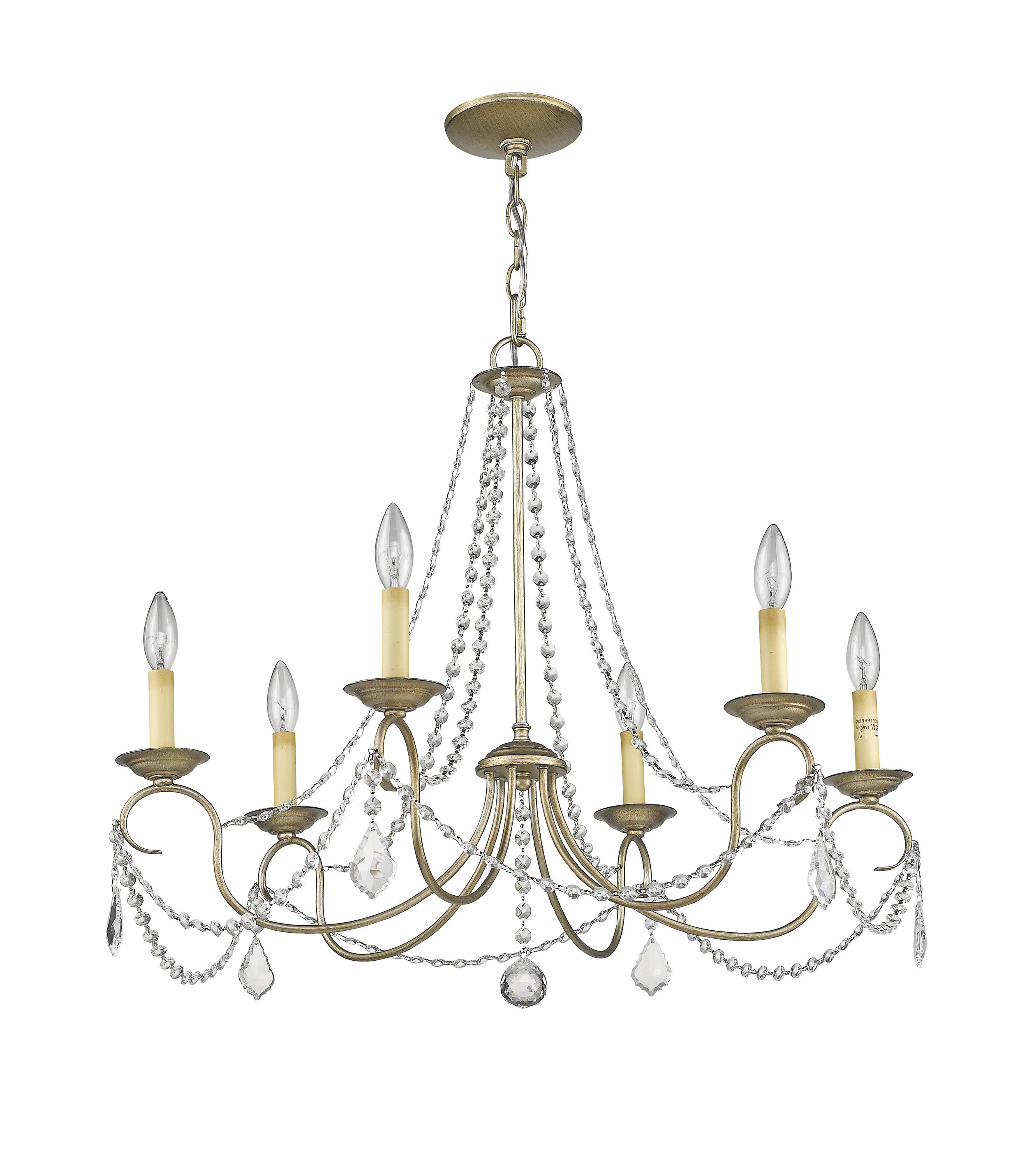 Diaz 6 Light Candle Style Chandeliers Pertaining To 2020 Devana 6 Light Candle Style Chandelier (View 4 of 20)