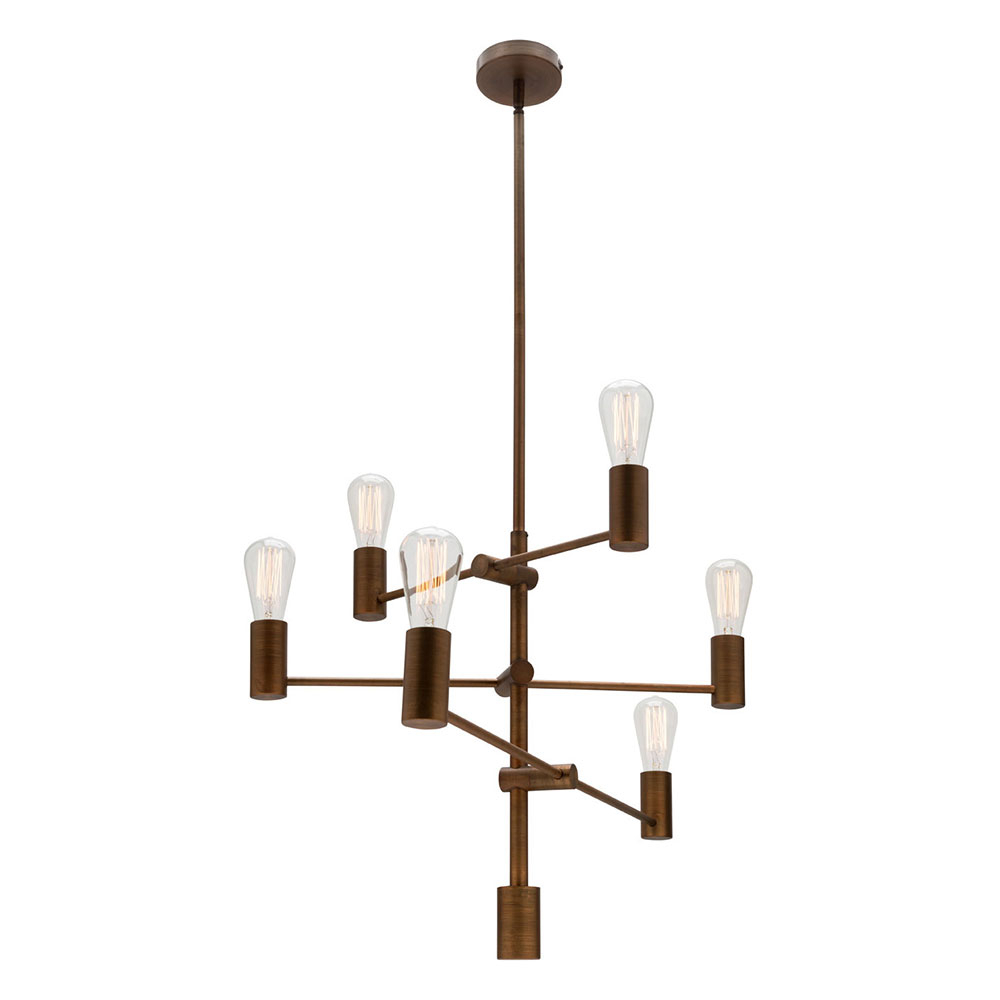 Diaz 6 Light Candle Style Chandeliers With Regard To Latest Diaz 6 Light Multi Arm Pendant Aged Brass – Mg1136Brs (View 20 of 20)