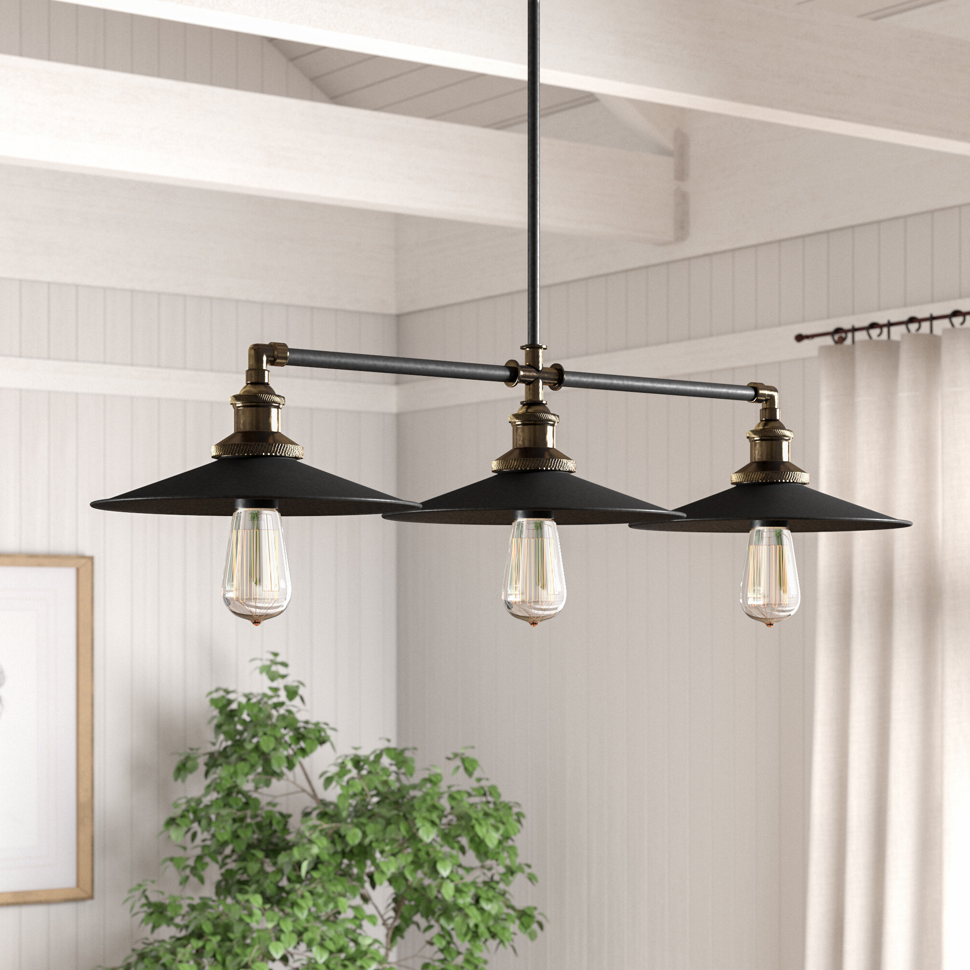 Dobson 3 Light Kitchen Island Linear Pendant Pertaining To Newest Cinchring 1 Light Cone Pendants (View 11 of 20)