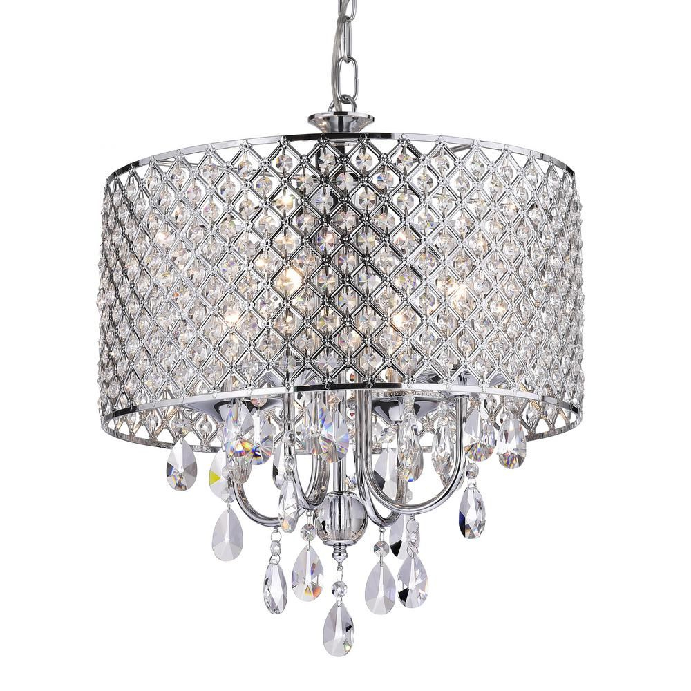 Edvivi Marya 4 Light Chrome Round Chandelier With Beaded In Newest Albano 4 Light Crystal Chandeliers (Gallery 19 of 20)