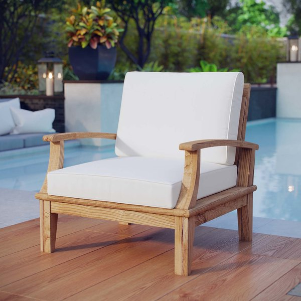 Elaina Teak Patio Chair With Cushions Within Famous Montford Teak Patio Sofas With Cushions (View 6 of 20)