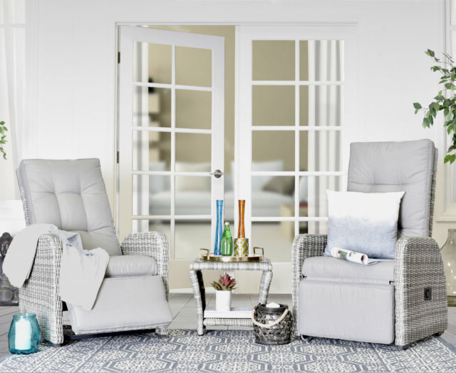 Elle Decor Vallauris 3 Piece Reclining Patio Sofa Set Throughout Most Up To Date Vallauris Sofa With Cushions (View 4 of 20)