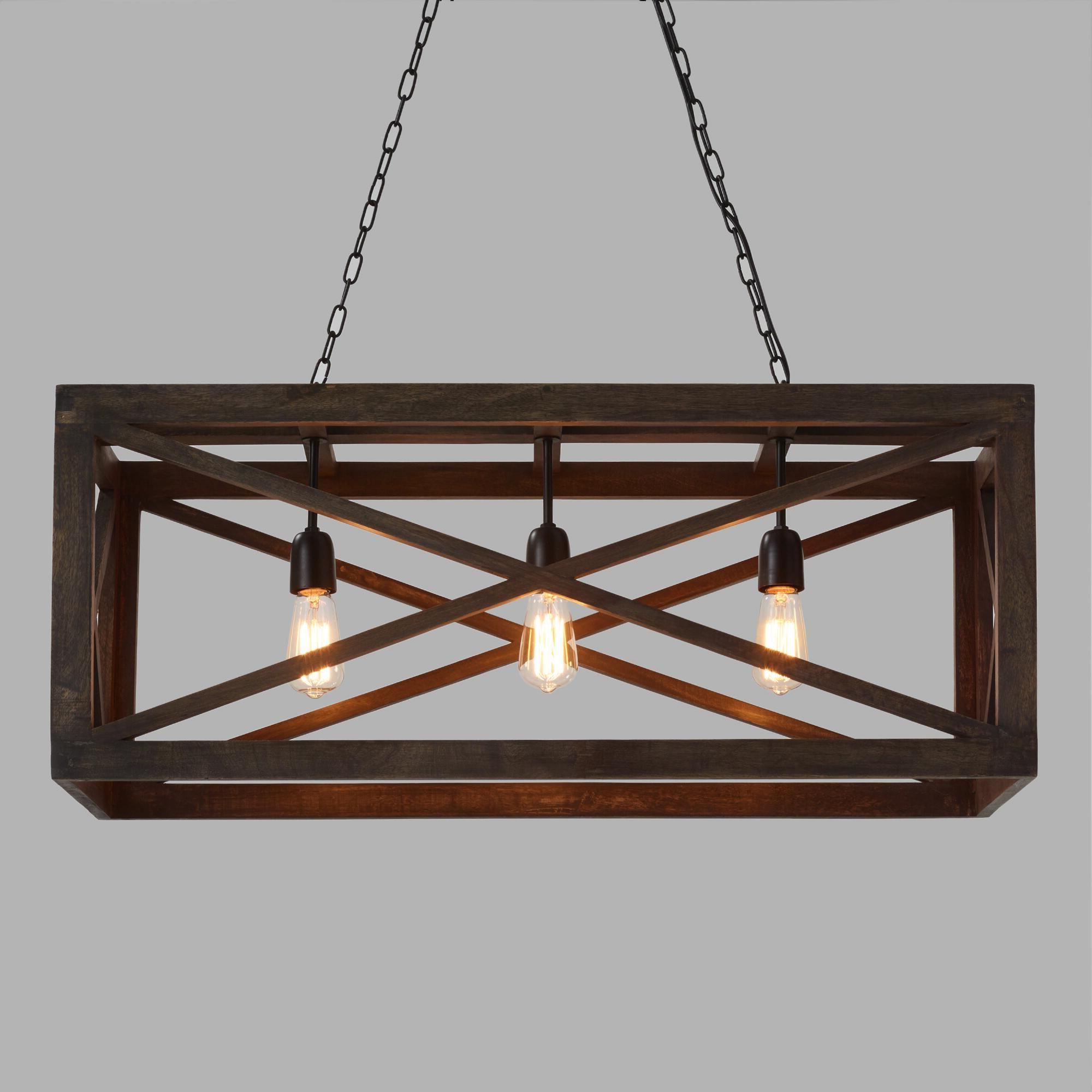 Ellenton 4 Light Rectangle Chandeliers Regarding 2019 Rectangular Gray Wood 3 Light Valencia Chandelierworld (View 8 of 20)