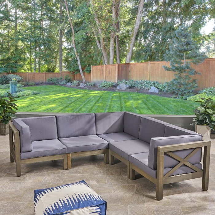Ellison Patio Sectional With Cushions In Trendy Tim X Back Patio Loveseats With Cushions (Gallery 17 of 20)