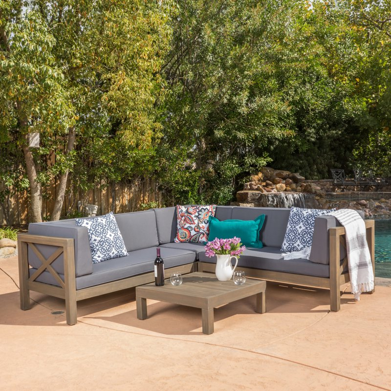 Ellison Patio Sectionals With Cushions In Most Up To Date Ellison 4 Piece Sectional Seating Sofa Set With Cushions (Gallery 10 of 20)