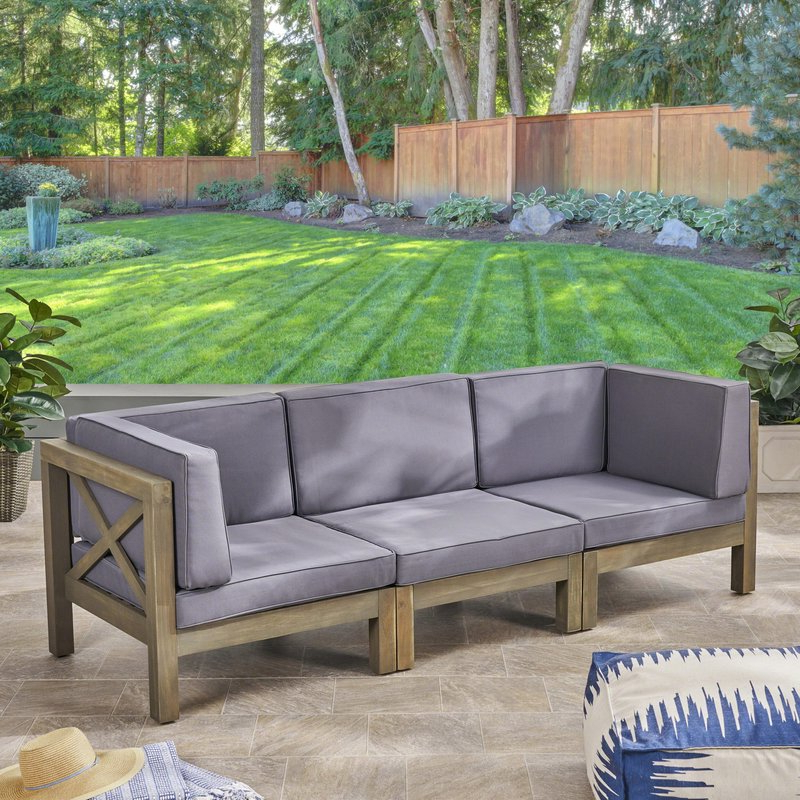 Ellison Patio Sofa With Cushions Regarding 2019 Ellison Patio Sectionals With Cushions (View 2 of 20)