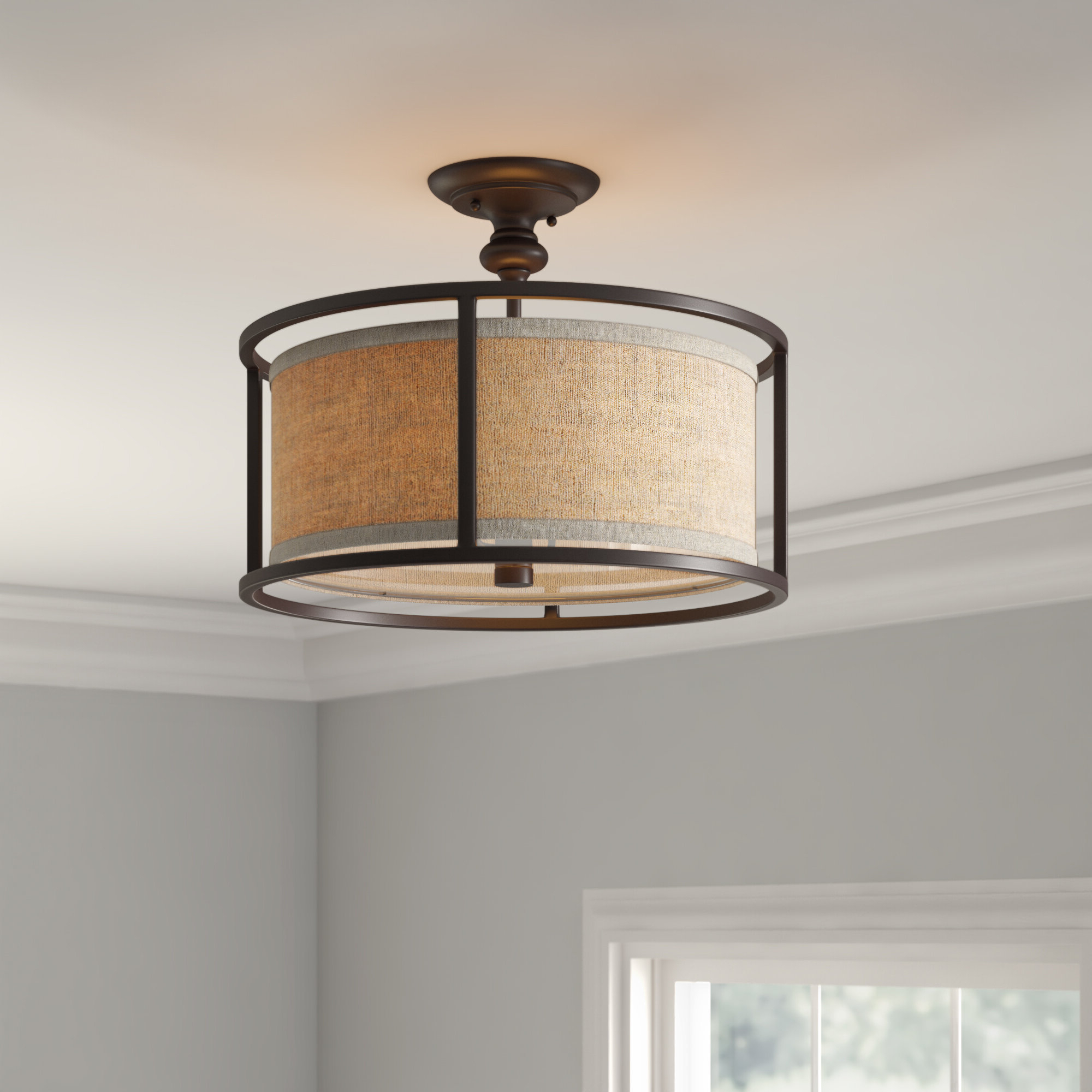 Elmhurst 3 Light Semi Flush Mount Within 2020 Emaria 3 Light Single Drum Pendants (View 2 of 20)