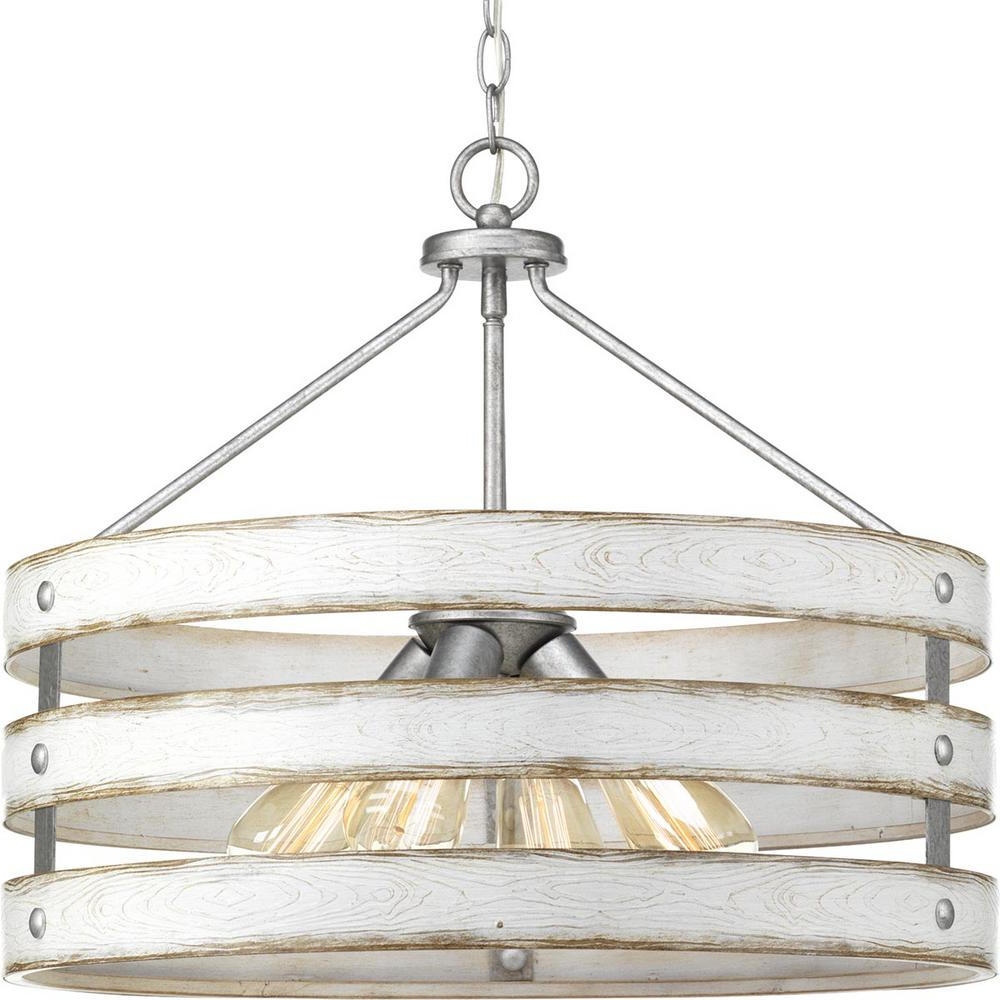 Emaria 3 Light Single Drum Pendants For Current Progress Lighting Gulliver 4 Light Galvanized Drum Pendant With Weathered  White Wood Accents (View 4 of 20)