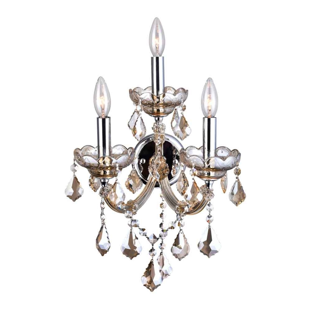 "Emaria 3 Light Single Drum Pendants Pertaining To Well Known 17"" Maria Theresa Traditional Crystal Wall Sconce Polished Chrome 3 Lights (View 7 of 20)"