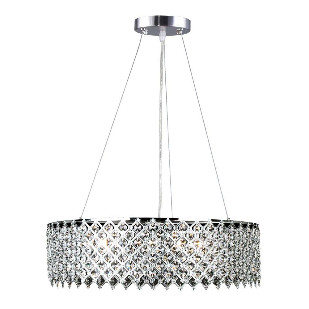 Emaria 3 Light Single Drum Pendants Throughout Latest Decor Living 3 Light Crystal And Chrome Chandelier (View 8 of 20)