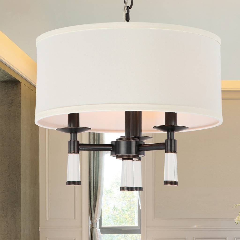 Emaria 3 Light Single Drum Pendants With Regard To Most Up To Date 3 Light Oil Rubbed Bronze Convertible Pendant (View 10 of 20)