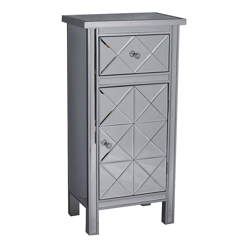 Emmy Tall 1 Door 1 Drawer Mirrored Accent Cabinet Pertaining To Widely Used Kara 4 Door Accent Cabinets (View 8 of 20)