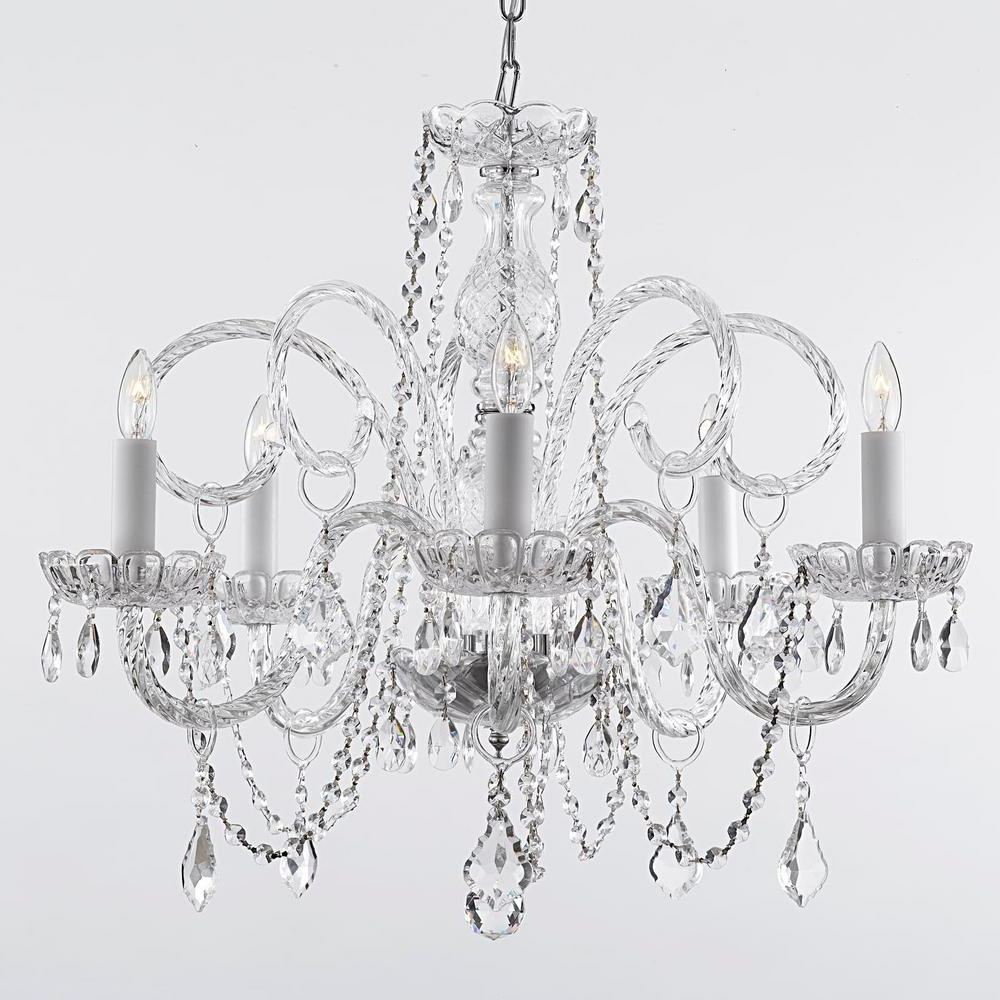 Empress Crystal 5 Light Chandelier Intended For Fashionable Verdell 5 Light Crystal Chandeliers (Gallery 7 of 20)