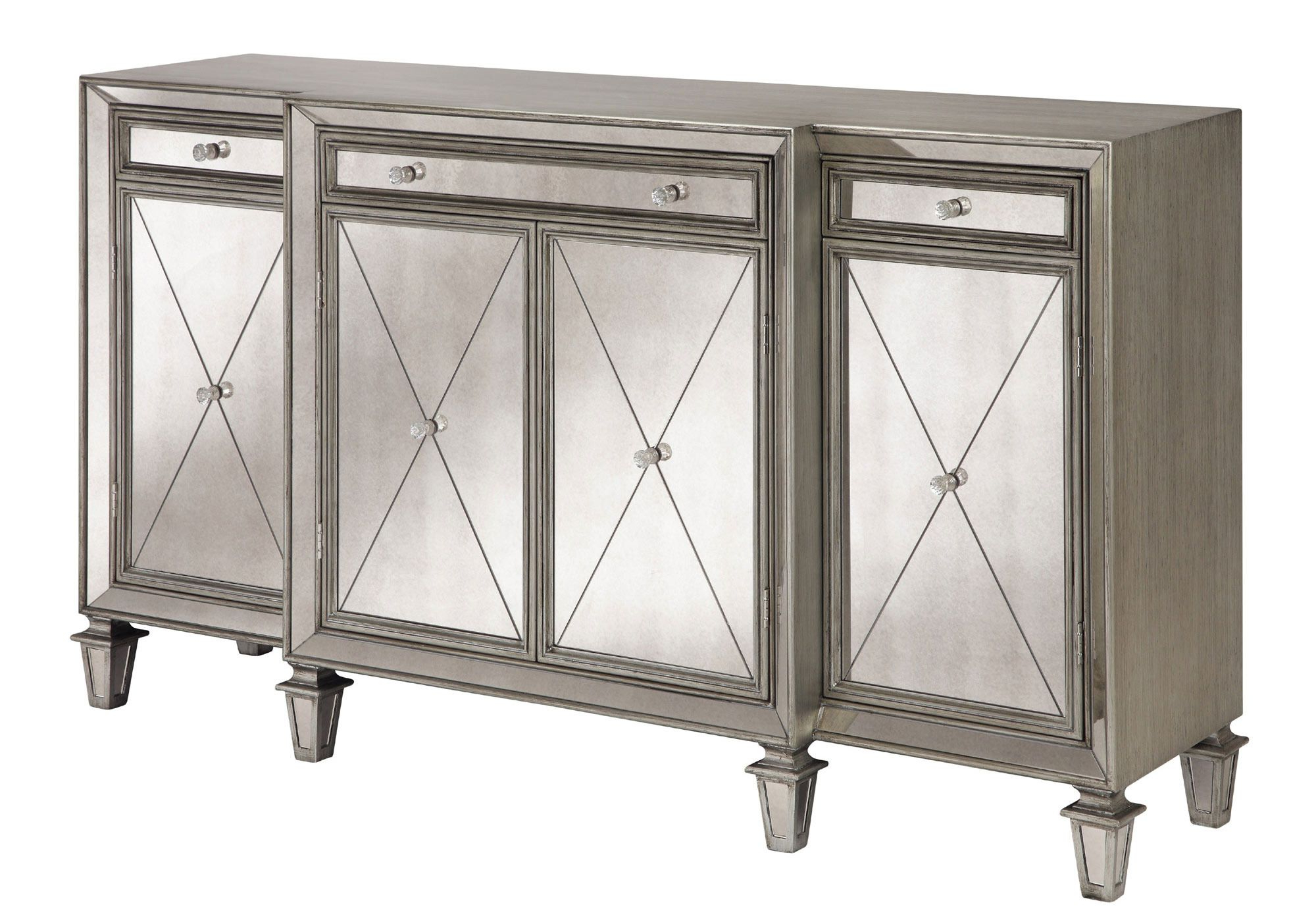 Erica Four Door, Three Drawer Sideboard In Silver (View 16 of 20)