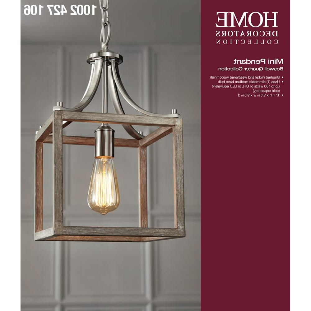 Erico 1 Light Single Bell Pendants Throughout Newest Home Decorators Collection Boswell Quarter 9.44 In (View 5 of 20)