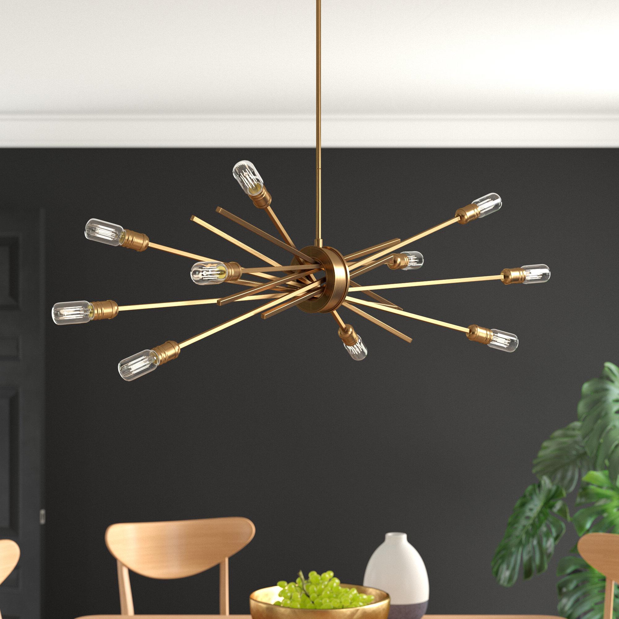 Everett 10 Light Sputnik Chandeliers In Fashionable Byler 10 Light Sputnik Chandelier (Gallery 7 of 20)