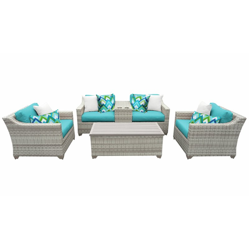 Falmouth 6 Piece Rattan Sectional Seating Group With Cushions Pertaining To Preferred Falmouth Patio Sofas With Cushions (Gallery 17 of 20)
