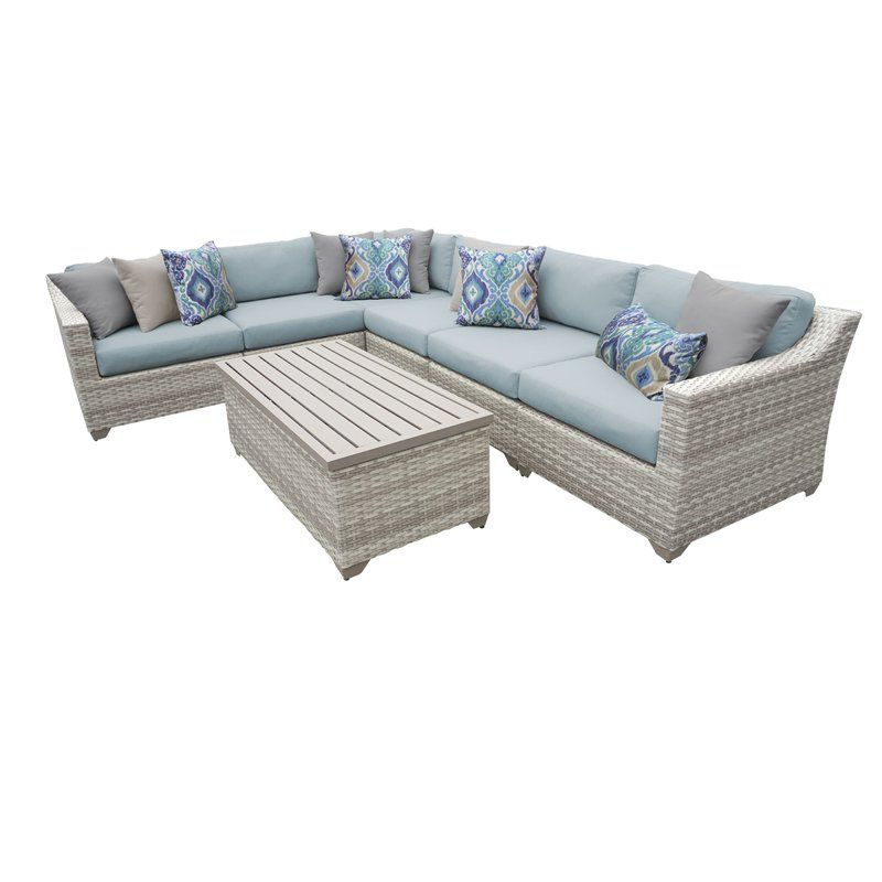 Falmouth 7 Piece Rattan Sectional Seating Group With Inside Popular Falmouth Patio Sofas With Cushions (Gallery 19 of 20)