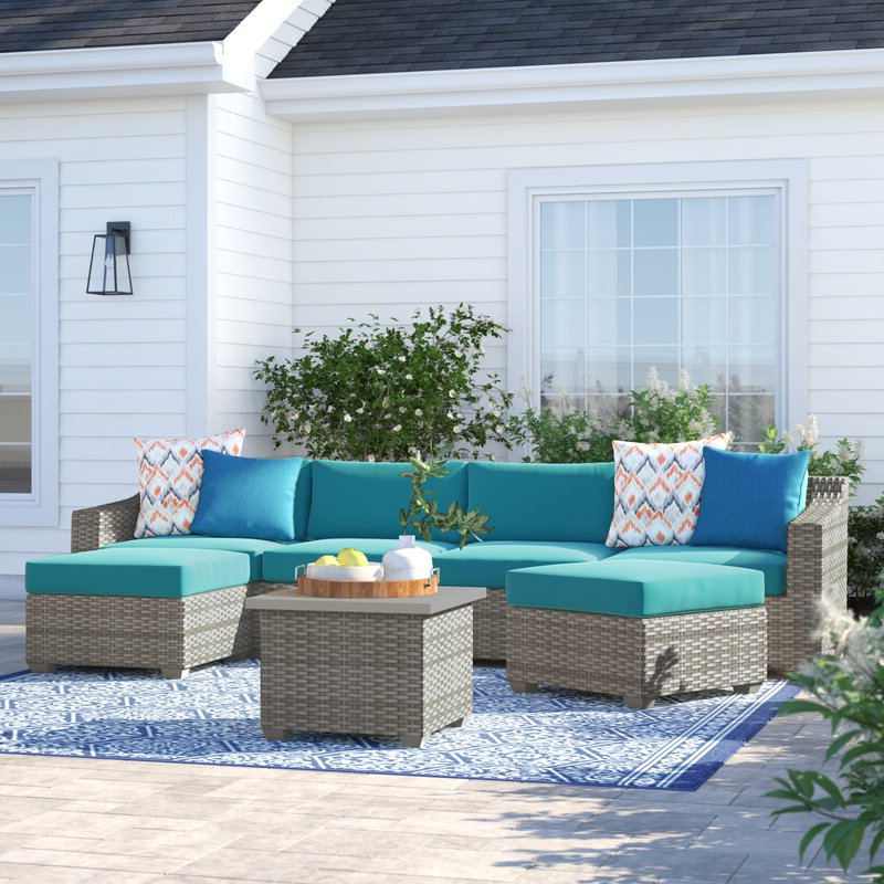 Falmouth 7 Piece Sectional Seating Group With Cushions For Newest Kunz Loveseats With Cushions (View 10 of 20)