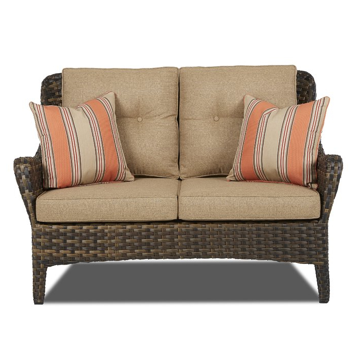 Falmouth Loveseats With Cushions Pertaining To Latest Ranstead Patio Loveseat With Cushions (View 11 of 20)