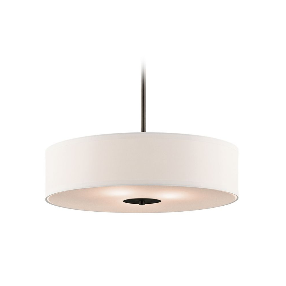 Famous Alina 5 Light Drum Chandeliers Pertaining To Kichler Drum Pendant Light With White Shade In Olde Bronze (View 14 of 20)