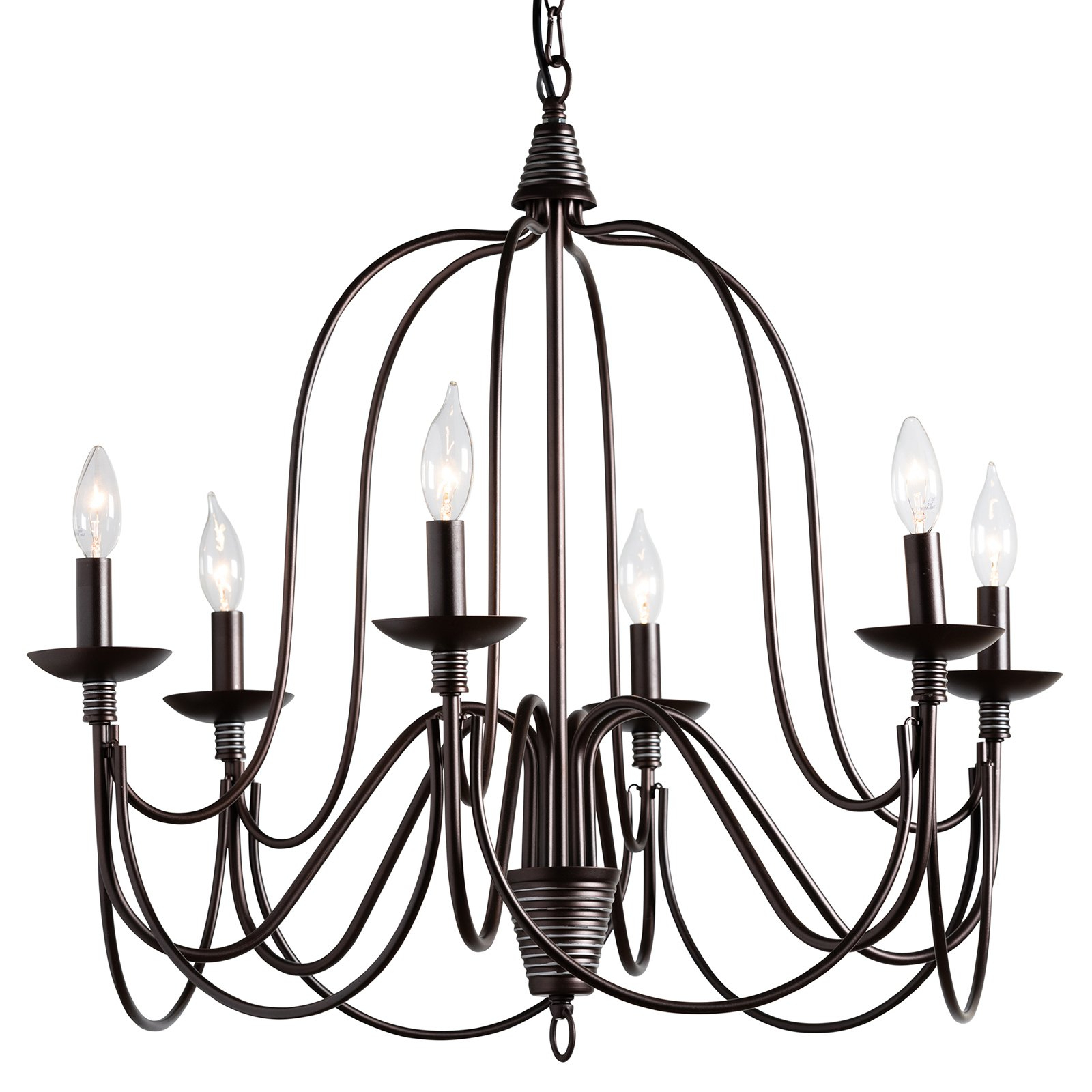 Famous Baxton Studio Palmira Even3680 6 Light Chandelier (Gallery 17 of 20)