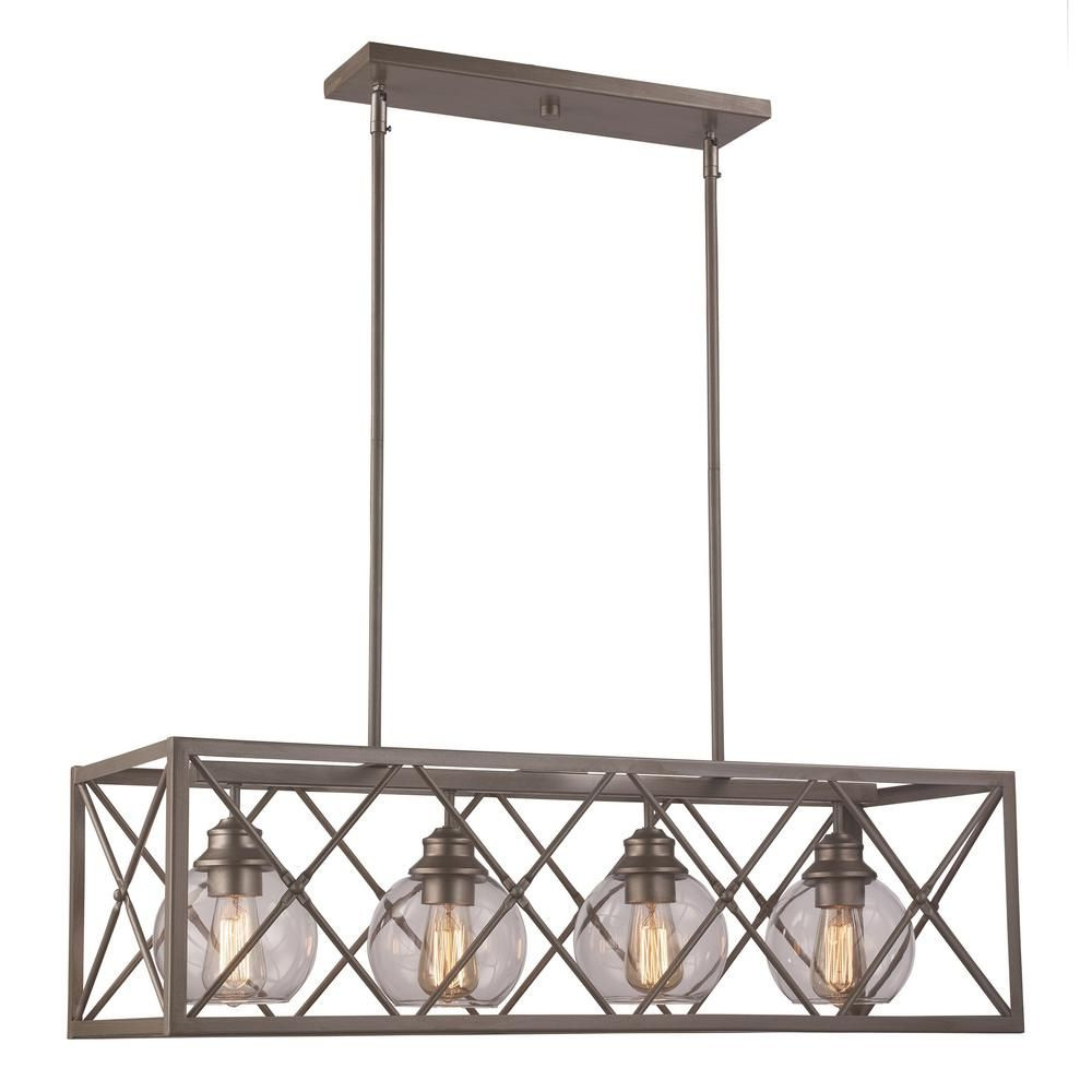 Famous Bel Air Lighting 4 Light Antique Silver Leaf Pendant With Odie 8 Light Kitchen Island Square / Rectangle Pendants (View 4 of 20)
