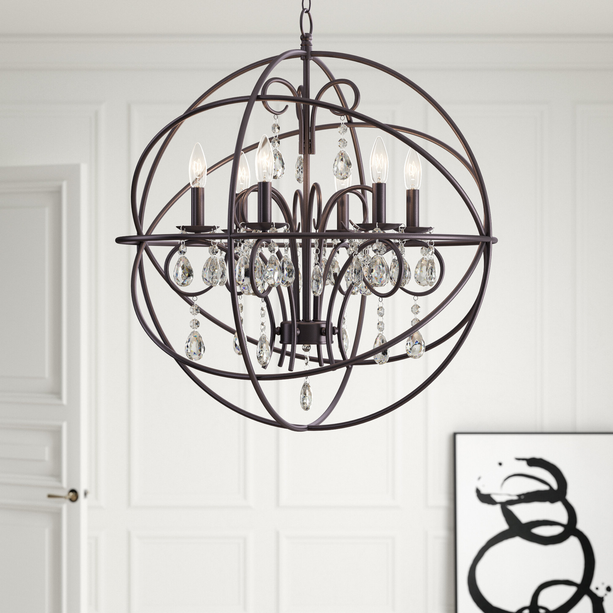 Famous Bennington 6 Light Candle Style Chandeliers Regarding Alden 6 Light Globe Chandelier (Gallery 16 of 20)