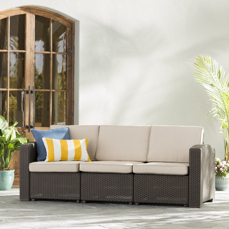 Famous Clifford Loveseats With Cushion Within Clifford Faux Rattan Sofa With Cushions (View 8 of 20)