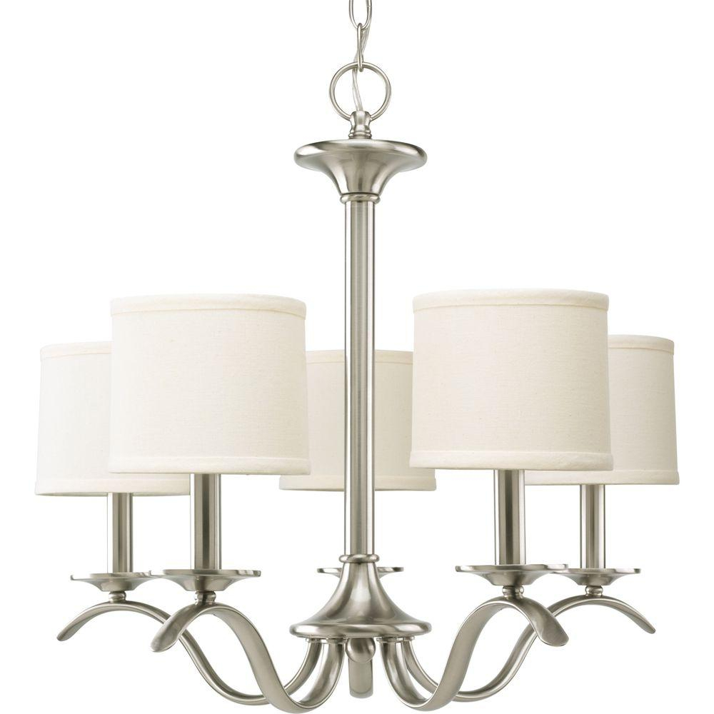 Famous Crofoot 5 Light Shaded Chandeliers Within Progress Lighting Inspire Collection 5 Light Brushed Nickel Chandelier With  Beige Linen Shade (View 8 of 20)